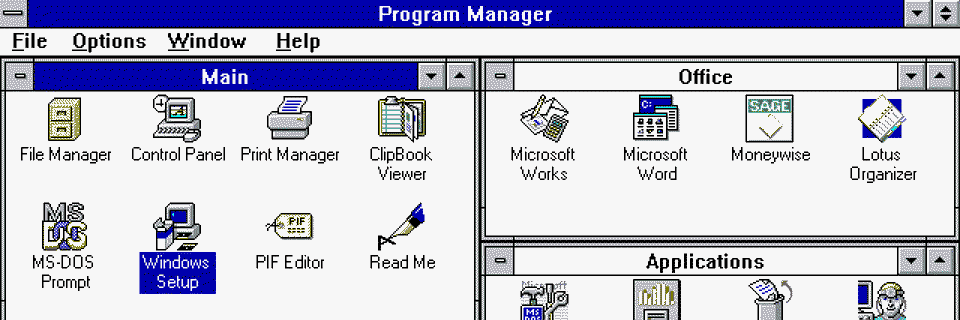 Microsoft WIndows 3.1 Program Manager
